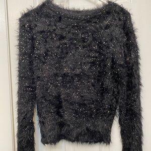 Soft fuzzy black Zara sweater with sequence